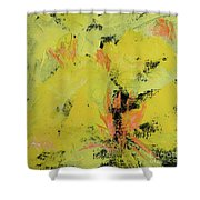 Yellow Blooms Coral Accents Shower Curtain