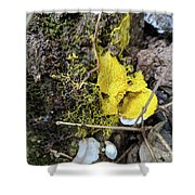 Yellow Enveloping White Shower Curtain