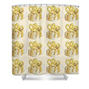 Yellow Presents Pattern Shower Curtain