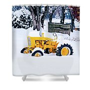 Yellow Tractor In The Snow Shower Curtain