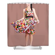 Young Beautiful Dancer Posing On Tan Background Shower Curtain