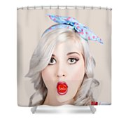Young Beautiful Woman Holding A Bottle Cap In A Mouth Shower Curtain