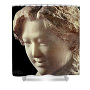 Young Girl-part-arttopan Carving-realistic Stone Sculptures-marble Shower Curtain
