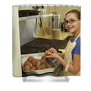 Young Girl Preparing Sweet Potatoes Model Release On File Shower Curtain by Kyle Lee