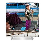 Young Girl With Snake 2, Cambodia Shower Curtain