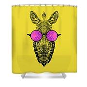 Zebra In Pink Glasses Shower Curtain