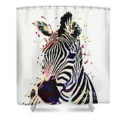 Zebra Watercolor Painting Shower Curtain