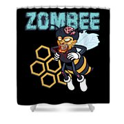 Zombee Zombie Bee Halloween For Beekeeper Apiarist Dark Light Shower Curtain