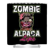 Zombie Alpaca Lips Halloween Pun Llama Alpacalypse Dark Shower Curtain
