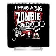 Zombie Repellent Halloween Funny Gun Art Dark Shower Curtain