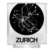 Zurich Black Subway Map Shower Curtain