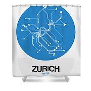 Zurich Blue Subway Map Shower Curtain
