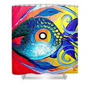 Blue Tongued Happy Boy Shower Curtain