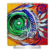 Happy Fish Compliments Transcending Time Shower Curtain