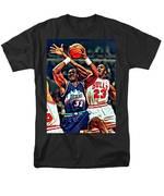 Karl Malone Vs. Michael Jordan Men's T-Shirt  (Regular Fit) by Florian Rodarte