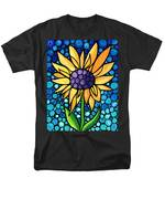 Standing Tall - Sunflower Art By Sharon Cummings Men's T-Shirt  (Regular Fit) by Sharon Cummings