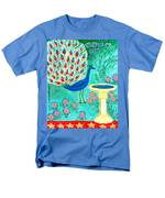 Peacock And Birdbath Men's T-Shirt  (Regular Fit)