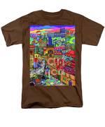 Prague Panorama With Charles Bridge Men's T-Shirt  (Regular Fit)