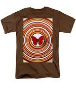 Red Butterfly On Plate With Many Circles Men's T-Shirt  (Regular Fit) by Garry Gay