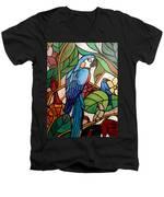 3 Birds On A Vine Men's V-Neck T-Shirt by Cynthia Amaral