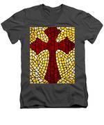 Mosaic Red Cross Men's V-Neck T-Shirt by Cynthia Amaral