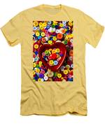 Heart Bowl With Buttons Men's T-Shirt (Athletic Fit)