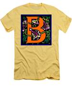 B In Orange Men's T-Shirt (Athletic Fit)