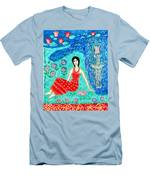 Woman Reading Beside Fountain Men's T-Shirt (Athletic Fit)