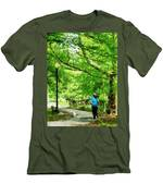Girl Jogging With Dog Men's T-Shirt (Athletic Fit)