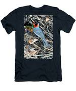 Red-faced Warbler At Nest With Young Men's T-Shirt (Athletic Fit)