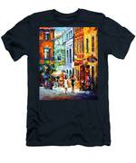 Morning Gossip - Palette Knife Oil Painting On Canvas By Leonid Afremov Men's T-Shirt (Athletic Fit)