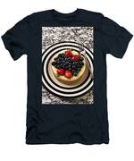Cheese Cake On Black And White Plate Men's T-Shirt (Athletic Fit)