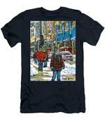 Achetez Les Meilleurs Scenes De Rue Montreal Best Original Art For Sale Montreal Streets Paintings Men's T-Shirt (Athletic Fit)