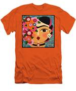 Frida Kahlo With Flowers And Skull Men's T-Shirt (Athletic Fit)