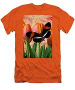 Butterfly On Orange Tulip Men's T-Shirt (Athletic Fit)