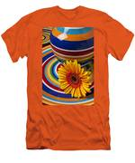 Orange Daisy With Plate And Vase Men's T-Shirt (Athletic Fit)