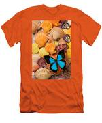 Blue Butterfly And Sea Shells Men's T-Shirt (Athletic Fit)