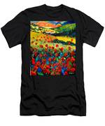 Poppies In Tuscany  Men's T-Shirt (Athletic Fit)