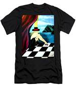 Bar Scene Lady With Hat By The Water Men's T-Shirt (Athletic Fit)