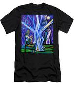Blue And Purple Girl With Tree And Owl Men's T-Shirt (Athletic Fit)