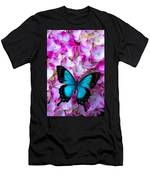 Blue Butterfly On Pink Hydrangea Men's T-Shirt (Athletic Fit)