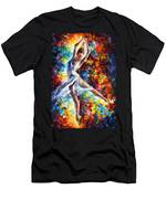 Candle Fire - Palette Knife Oil Painting On Canvas By Leonid Afremov Men's T-Shirt (Athletic Fit)