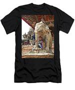 Children Love The Elephants In Patan Durbar Square In Lalitpur-nepal Men's T-Shirt (Athletic Fit)
