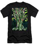 Green Tree With Pink Watercolor Men's T-Shirt (Athletic Fit)
