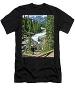 Hiking In Mistaya Canyon Along Icefield Parkway In Alberta Men's T-Shirt (Athletic Fit)