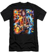 Johnny Cash - Palette Knife Oil Painting On Canvas By Leonid Afremov Men's T-Shirt (Athletic Fit)