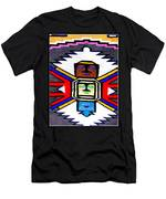 Native American Grey White Quilt Detail Men's T-Shirt (Athletic Fit)