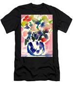 Pink Roses In A Blue Vase Men's T-Shirt (Athletic Fit)