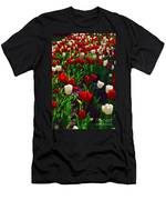 Red And White Tulip Art Men's T-Shirt (Athletic Fit)