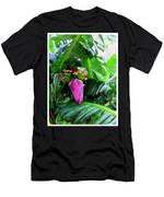 Red Flower Of A Banana Against Green Leaves Men's T-Shirt (Athletic Fit)